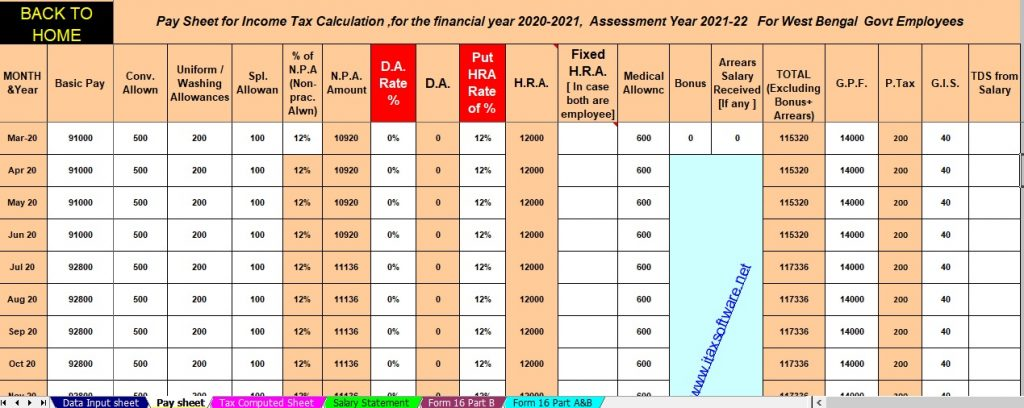 Income Tax Calculator for the W.B.Govt employees for F.Y.2020-21
